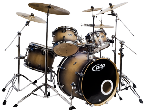 PDP FS Drumkit Natural to Charcoal Burst