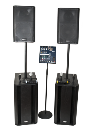PA Kit - QSC K10 Small Normal Sub + MG82cx + 4x Shure - PA Kit for live and recorded musik with up to 600-750 people in the audience with an extra punch in the low registers. In this PA package we have put together 2 pieces of out well sounding QSC K10 sitting on top 2 equally well sounding K-Sub Sub-woofers and 4 good Shure microphones including 2 wireless. 4000W in pure power for a really hefty uhmf in the music.