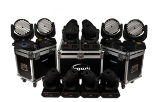 Light kit - 4 x ACQ-MH1083W + 8 x ACQ-MH60W Spot1 - This is our largest pre-packed light kits contain non less than twelve very powerful moving lights of both Wash-type and Spot-type. This kit is perfect for medium sized to very large stages.