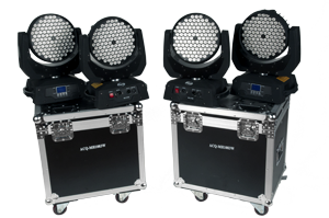Light kit - 4 x ACQ-MH1083W - In this kit, we have included four very powerful moving lights called Moving Heads. Our ACQ-MH1083W is so called Wash lights, meaning that they color the area they point to. This kit is perfect to small to medium sized stages.