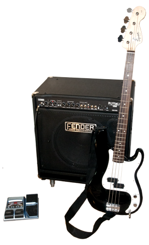 "Acquris Bass Combo Set - Our ""Bass-set"" consisting of our Fender Squier P-Bass, our Fender Rumble 150 Bass amplifier, DigiTech BP80V Bass pedal and cables. A very affordable package with the real Fender bass sound."