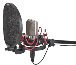 - Microphone mount with the pop filter mounted and a Neumann TLM103 microphone