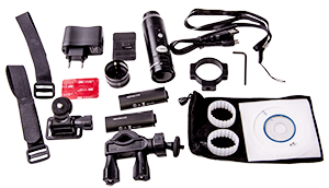 - As said before, in the package is all accessories and mountings, regardless is you want to mount it to your helmet, bicycle handlebar or gun barrel, everything is included for your convenience. You even get dubble batteries for extra long filming