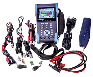 - ACQ-CCTV-TST11 in its chock resistant protective cover together with all the accessories; camera video cable, camera power cable, charger, optical adapters for different optical patch cables, kabel tester, multimeter test cables and more