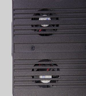 - Five (two on each side) and one on the back, silent but powerful fans keep both the lasers and the electronics cool for maximum lifespan