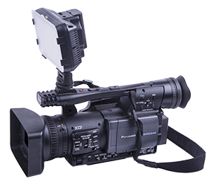 - ACQ-VIDLED160CW mounted in the video cameras hot-shoe