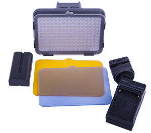 "- The package include a stand mount/hot shoe mount, ett 3Ah rechargable batteries for long operation ""off grid"", battery charger, three filters with one soft filter, one warm filter (orange) and one ""cold"" blue filter"