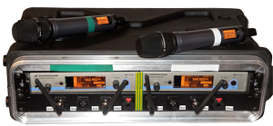 Acquris 2 channel ew500 with e965 - Two channel wireless solution with Sennheiser ew500 system. This wireless kit contains two handheld transmitter (SKM500) with two e965 capsule and a remote controllable receiver (EM500) built into a stabil case.