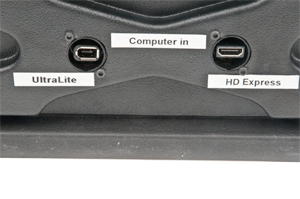 Acquris video recording  - UltraLite & HDExpress - The back with the connectors to the computer, Firewire and HD Express special ExpressCard connector, easily mistaken for HDMI which its not