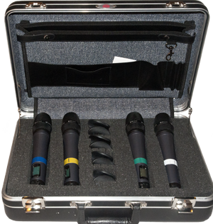 "Acquris 2 channel ew500 with e965 - THe microphones comes delivered in a stabil and well protecting SKB attache case, here ""fully loaded"" with four microphones."