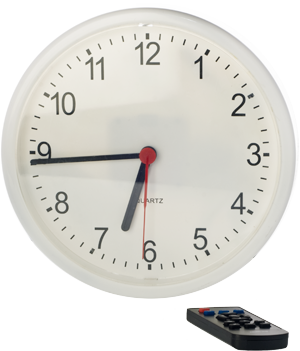 White wall clock with remote control
