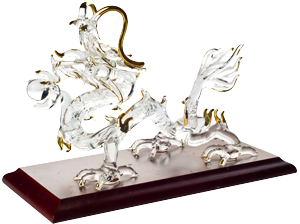 Chinese Dragon in Crystal Glass