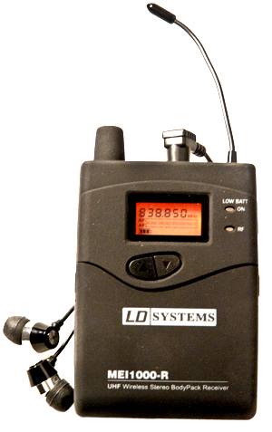 LD Systems MEI 1000-R in-ear monitor - Mycket prisvärt In Ear-monitorsystem med de nya frekvenserna. Denna stereomottagare kan även kopplas om till mono för att därmed erhålla dubbla kanaler.