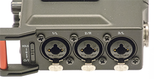 - DR-70D right side with the rest of the XLR-Combo javks- Please note that all XLR-Combo connectors is quipped with the XLR-locking. This significantly reduces the risk of spoiled recordings due to cable chance of any connector