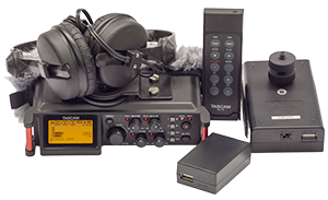 - The basic kit include high quality headphones from Sennhesier (HD-25mkII), AC/DC adapter för powering via the wall outlet, exernal battery pack and the remote control