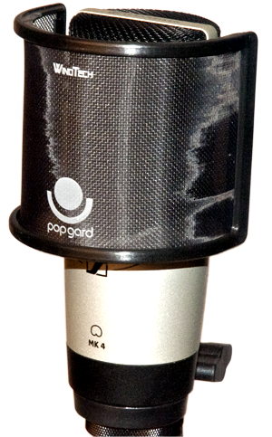 - WindTech Popgard is easily mounted on most round large diaphragm microphones, here on a Sennheiser MK4